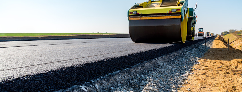Asphalt Paving with Road Rollers
